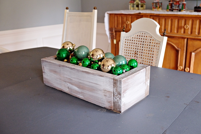 green and gold ornament centerpiece