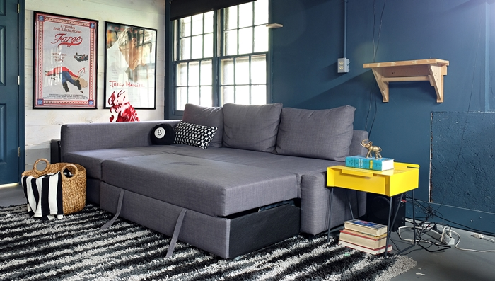 an ikea friheten sofa comes to live in our basement. Black Bedroom Furniture Sets. Home Design Ideas