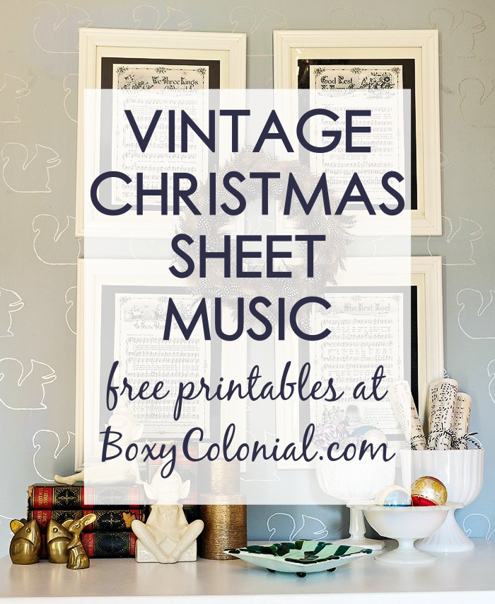 decorate for Christmas with printable vintage sheet music with Christmas carols. Source for great free printable at Boxy Colonial