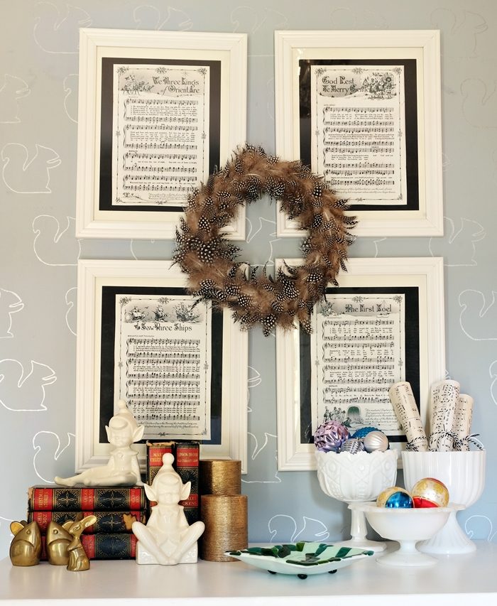 frame vintage Christmas Carol sheet music for simple holiday decorating