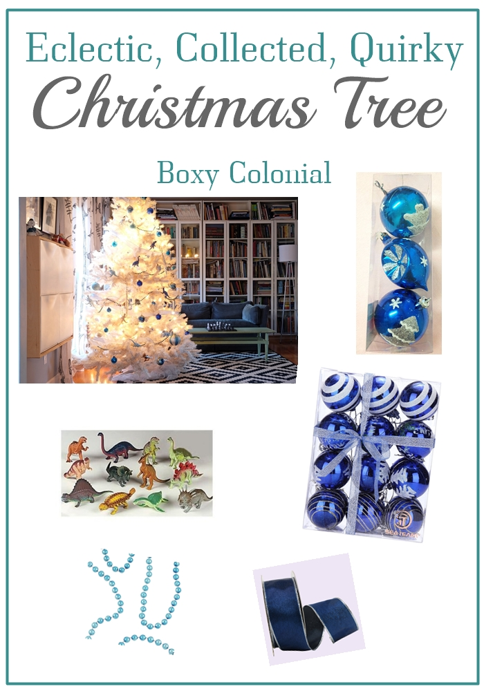 Decorate a white christmas tree with blue and silver plus glittery dinosaurs