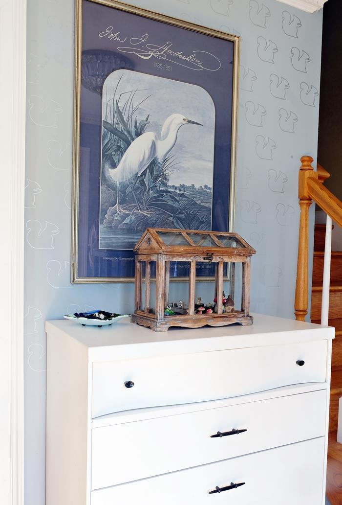 Boxy Colonial Spring Home Tour--Audubon print in foyer