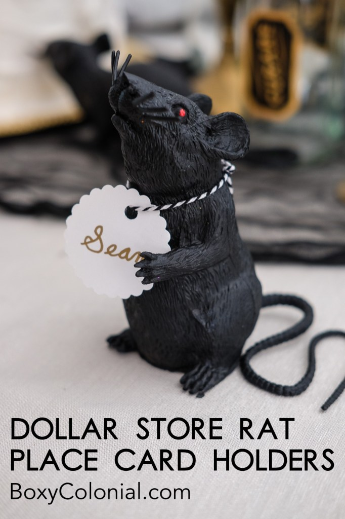 Make these DIY Dollar Store Rat Place Card Holders for your Halloween table! Tutorial at BoxyColonial.com #dollarstore #dollartree #halloween #halloweencraft