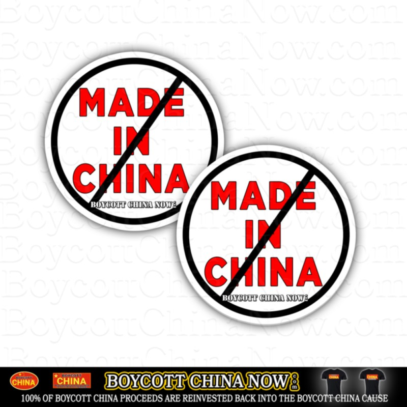 Anti Made In China Stickers 2 pack Round White