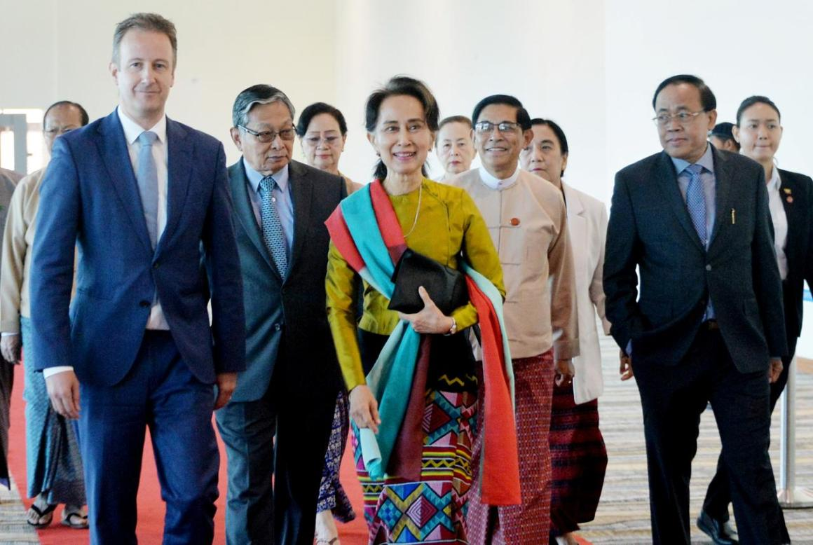 Myanmar leader Suu Kyi departs from Naypyidaw Int'l Airport with a smile to The Hague where she will deny and dismiss UN's allegation of Myanmar genocide against the Rohingya minority, December 8, 2019. (Photo: Myanmar's State Counsellor Office/Handout via REUTERS) Boycott Myanmar