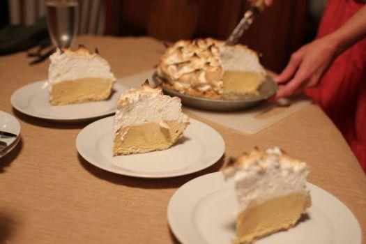 Baked alaska pie with salty caramel ice cream.