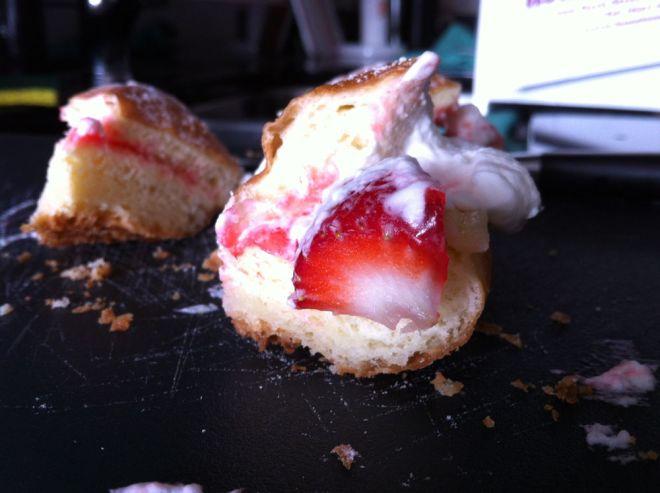 Strawberry and cream paczki.
