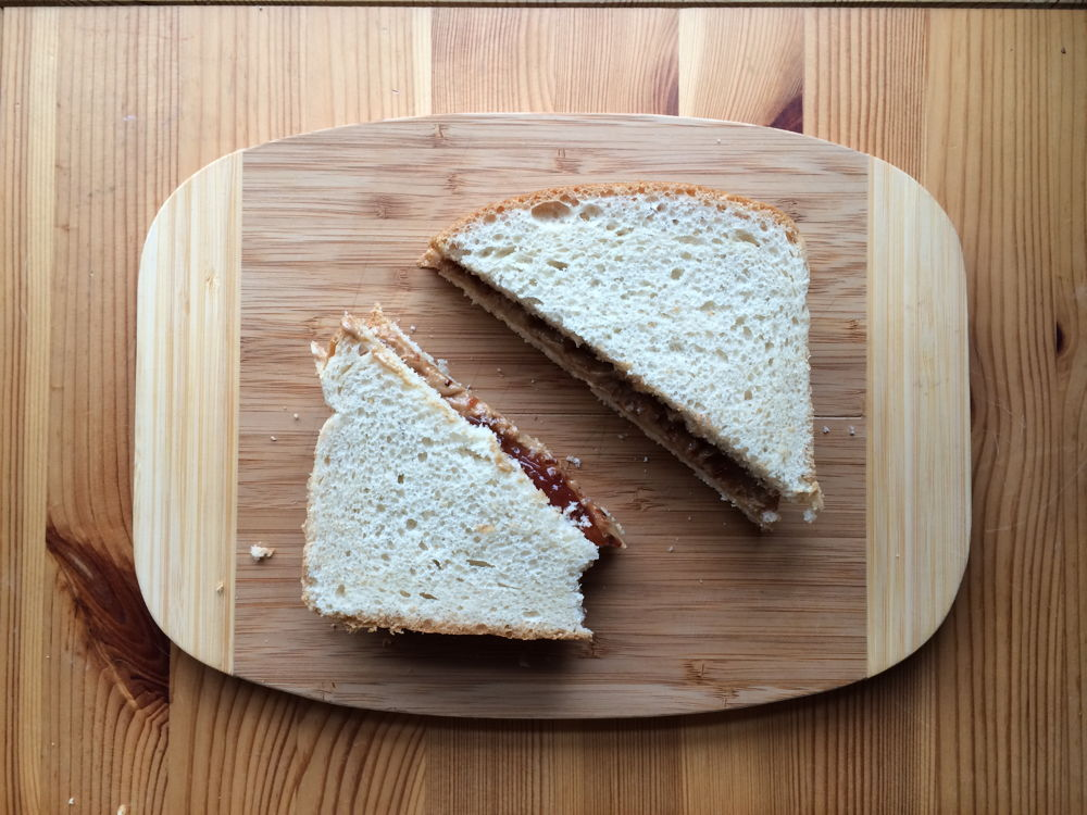 A peanut butter and jelly sandwich.