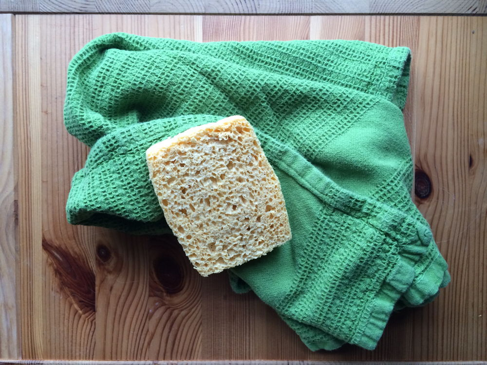 Sponge and dishtowel.