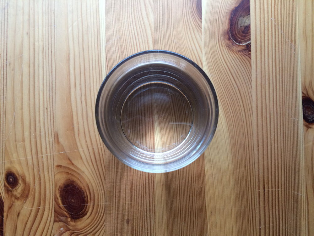 A glass of water.