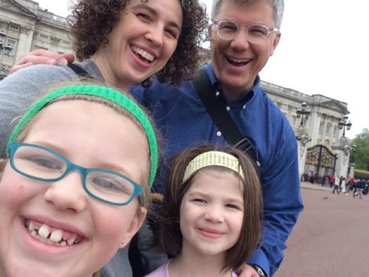 The Boyds glimpse Buckingham Palace.