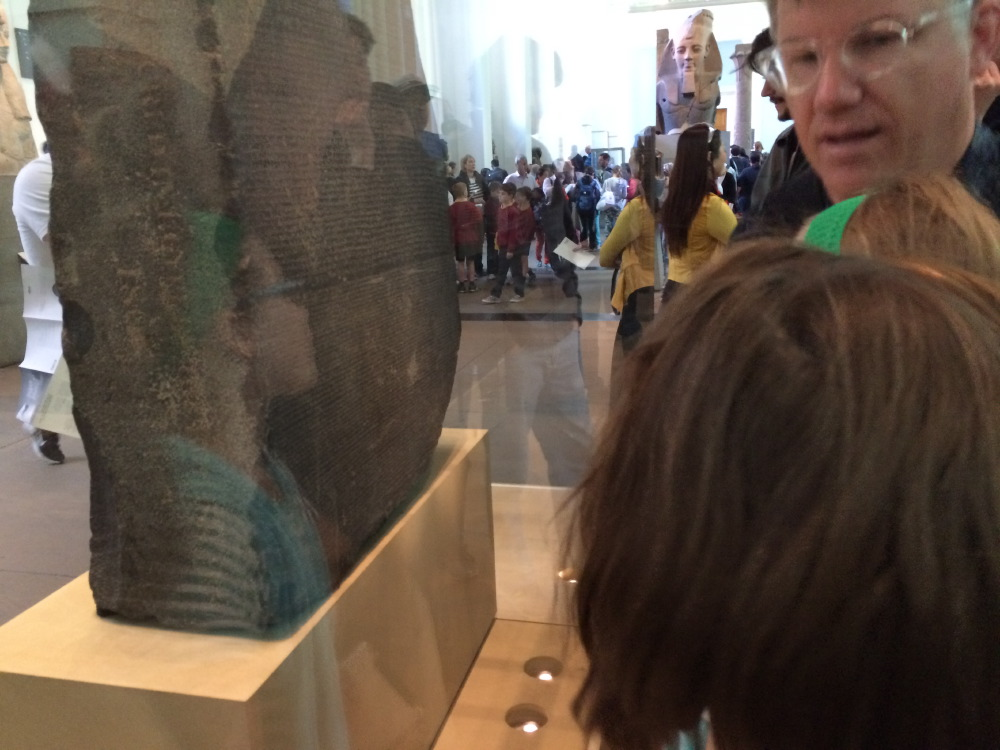 Viewing the Rosetta Stone.