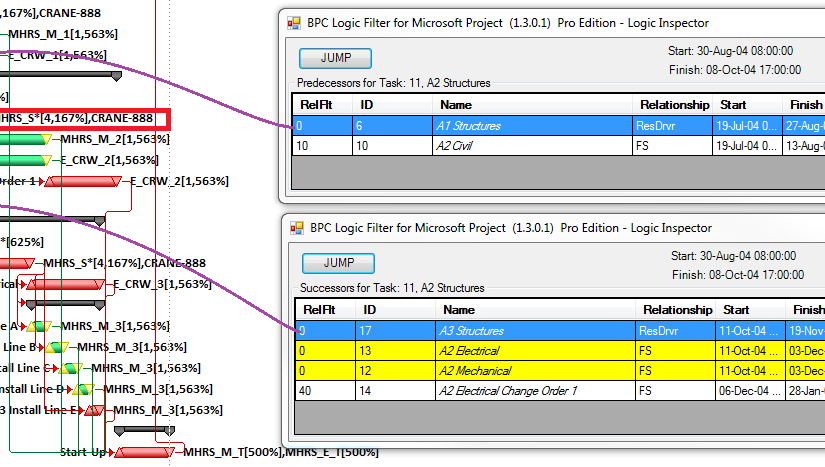 Inspecting Task Resource Drivers with BPC Logic Filter for Microsoft Project