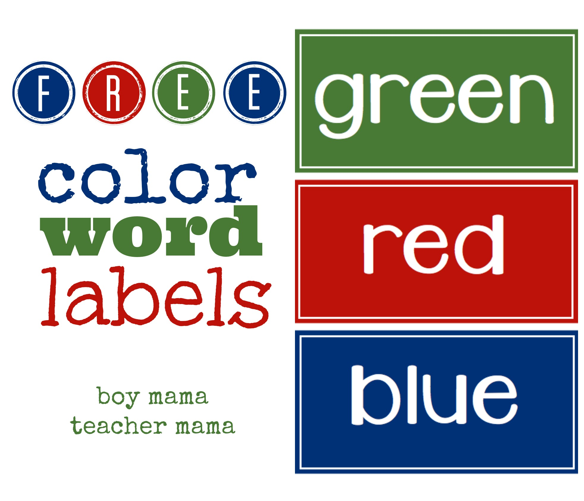 Teacher Mama Free Color Word Labels
