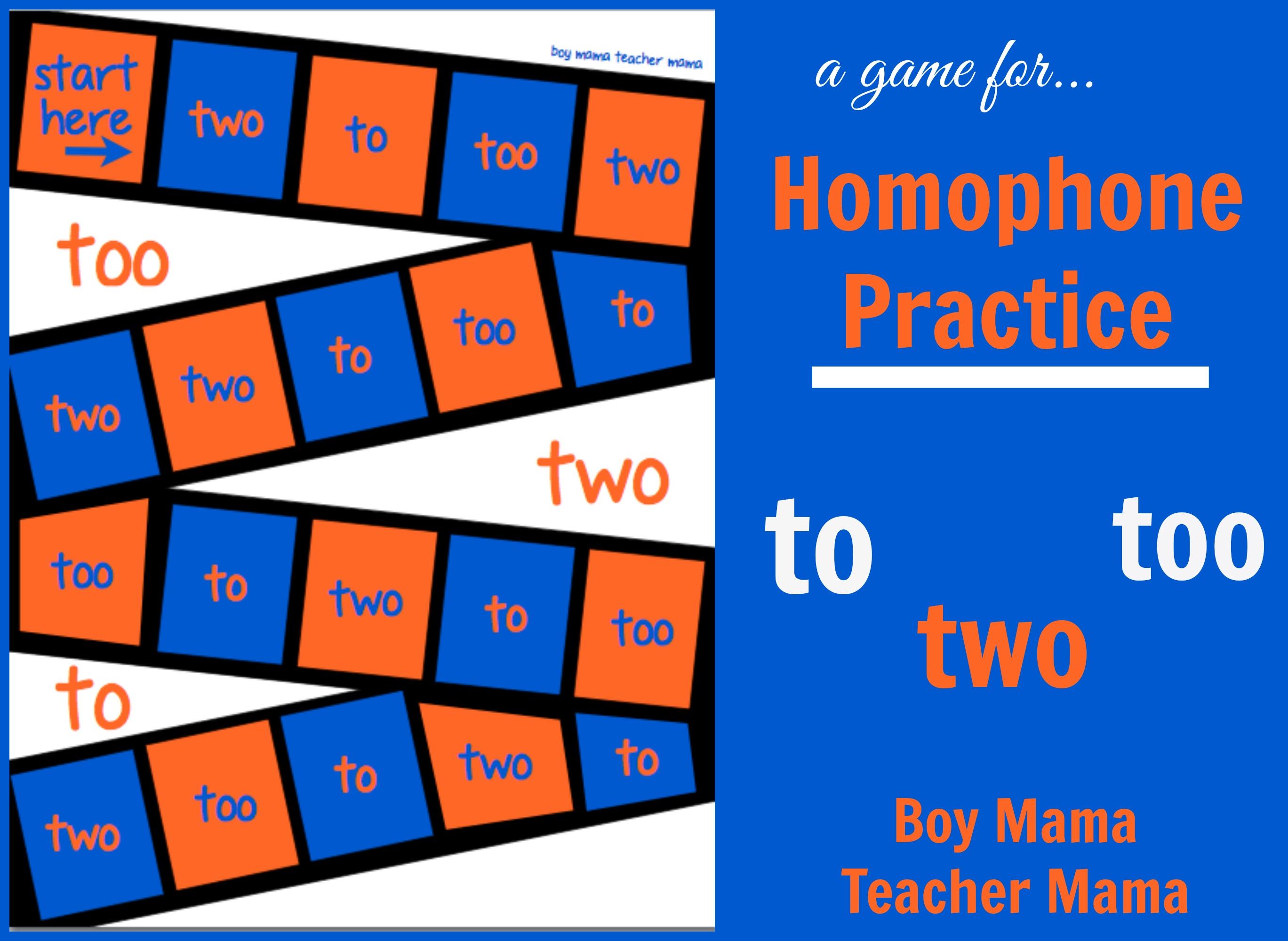 Teacher Mama Homophone Practice To Too Two Boy Mama