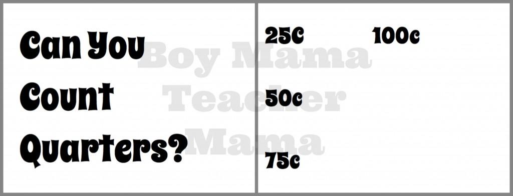 Teacher Mama: Counting Quarters: A Visual Aid and Teaching