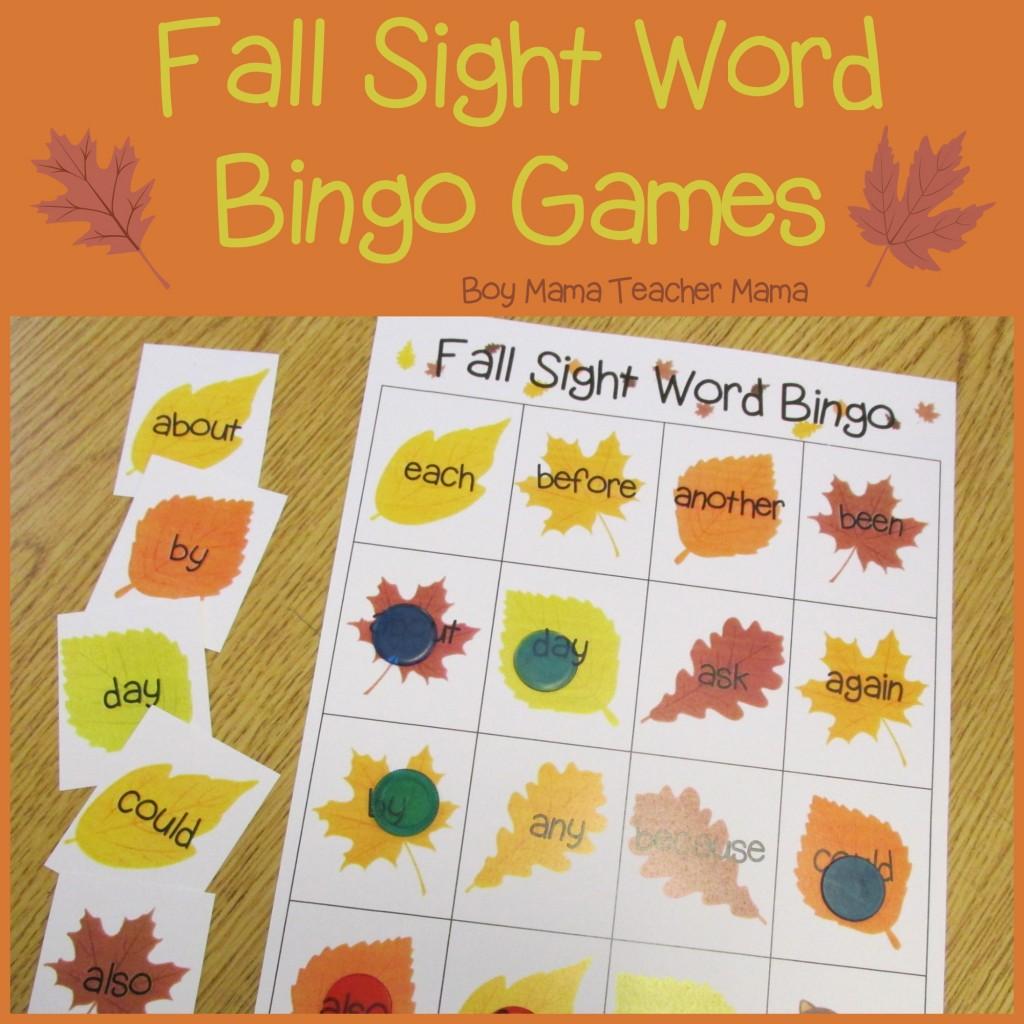 Teacher Mama Fall Sight Word Bingo Games