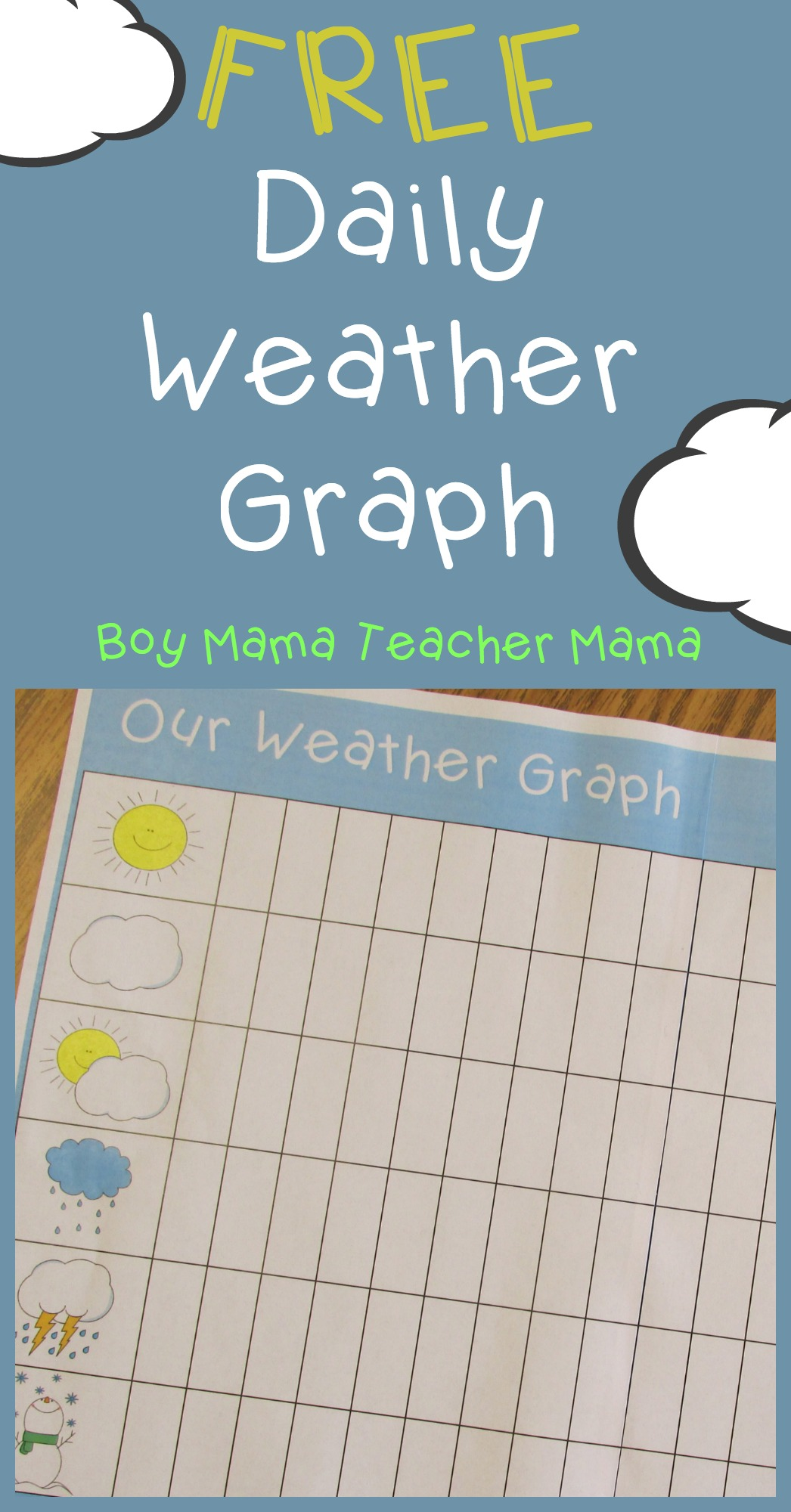 Teacher Mama Free Printable Daily Weather Graph