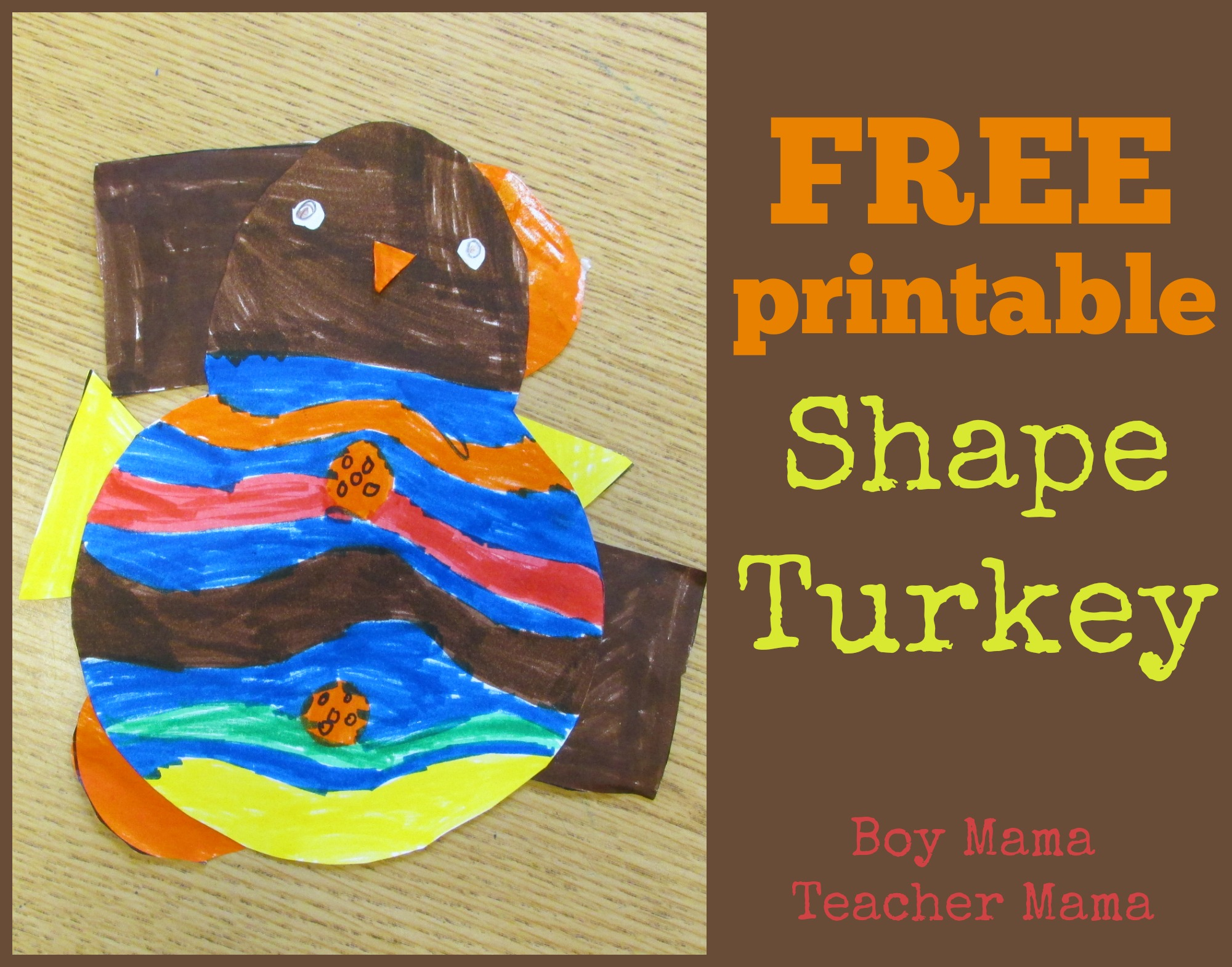 Teacher Mama Shape Turkey Free Printable