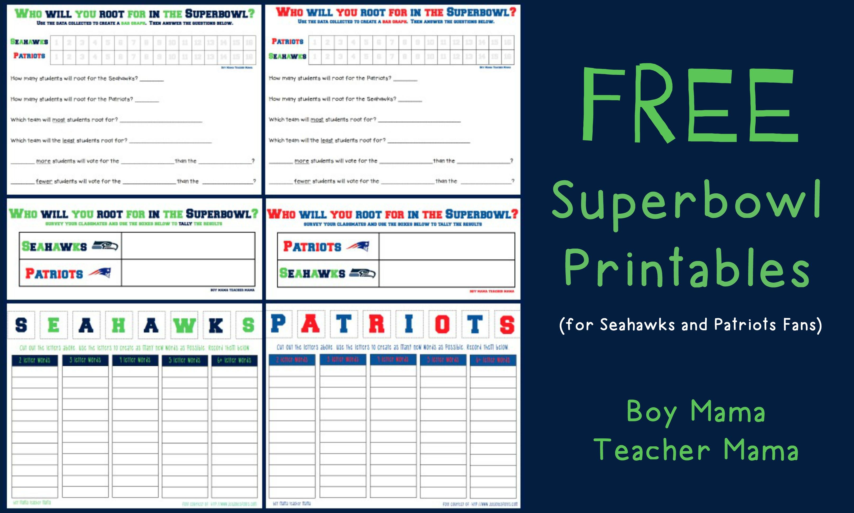 Teacher Mama More Free Superbowl Printables