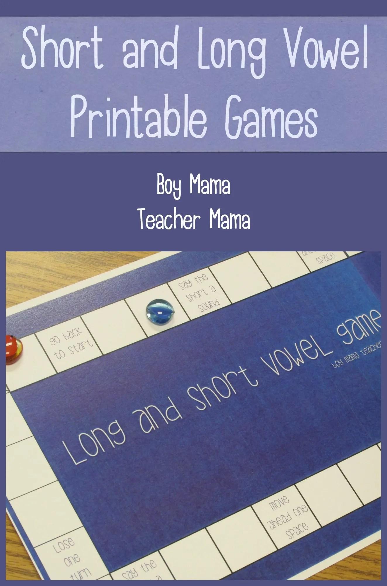 hight resolution of Teacher Mama: Short and Long Vowel Printable Games {After School Linky} -  Boy Mama Teacher Mama