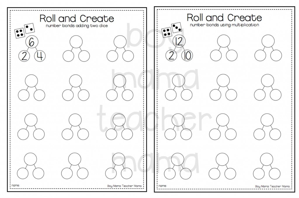 Teacher Mama: FREE Roll and Create Number Bonds Printable