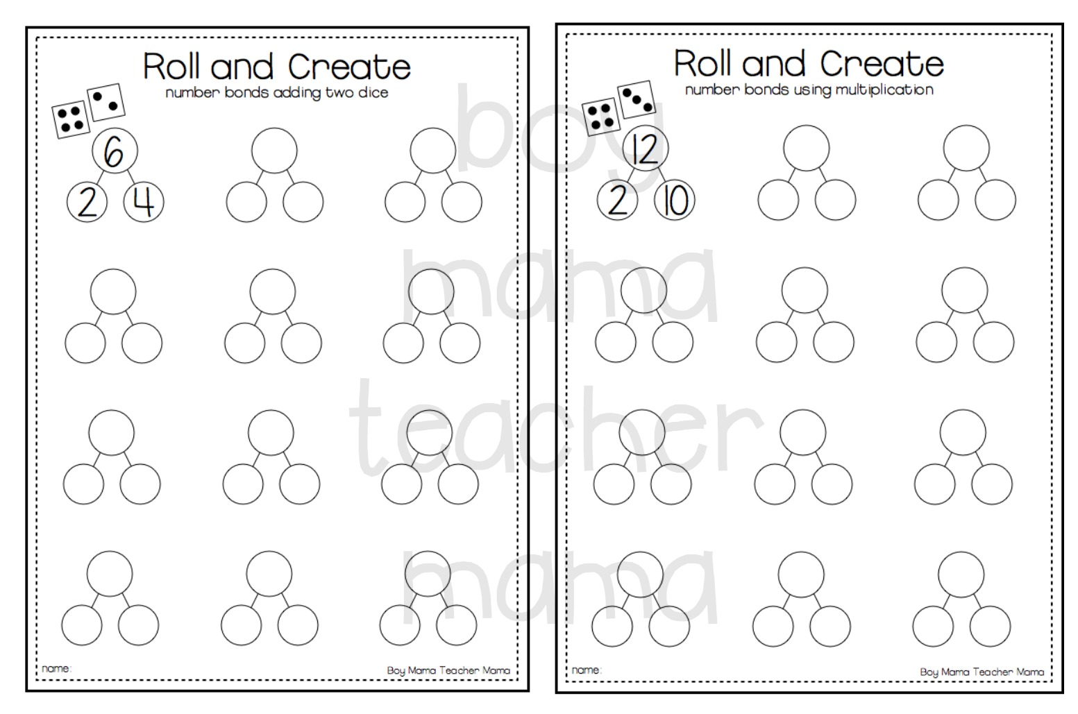 Teacher Mama Free Roll And Create Number Bonds Printable