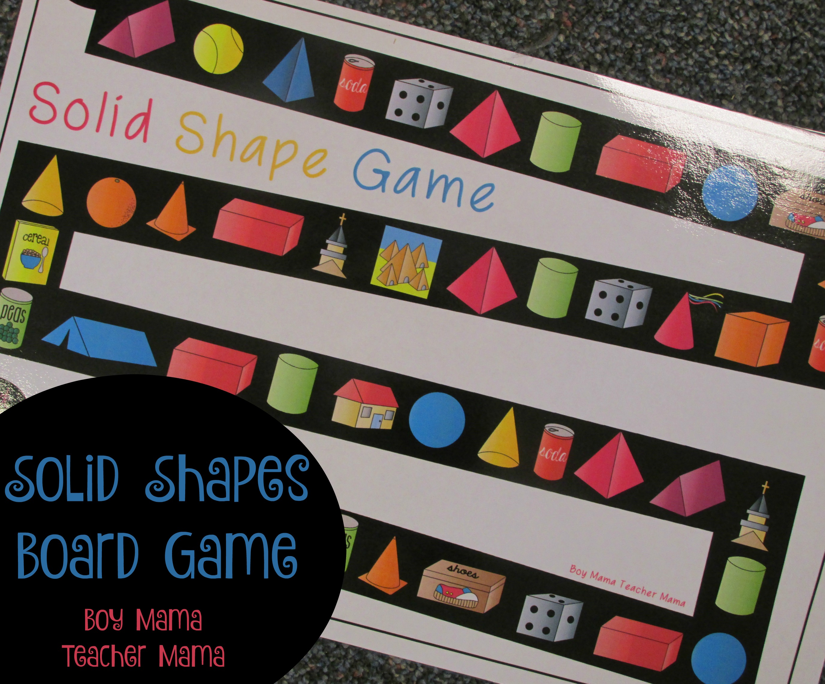 Teacher Mama Solid Shapes Board Game After School Linky