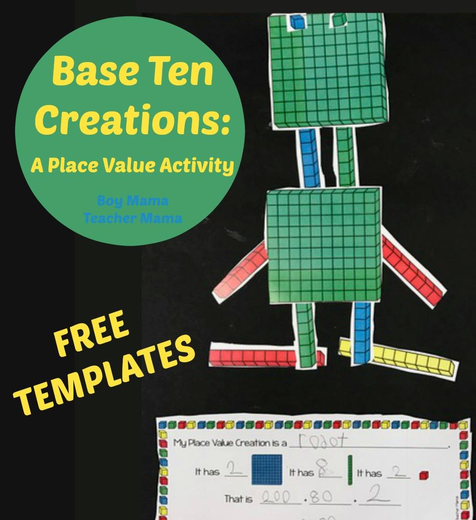 hight resolution of FREE Base Ten Blocks Creations: A Place Value Activity - Boy Mama Teacher  Mama