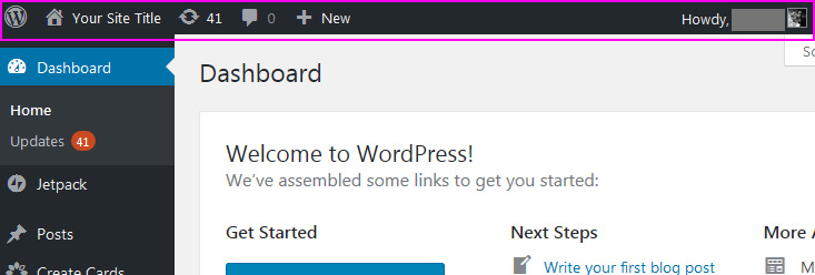 Starting a WordPress blog - elements of the dashboard
