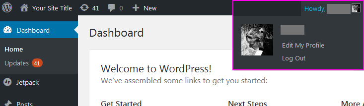 How to start a WordPress blog - logout from the dashboard