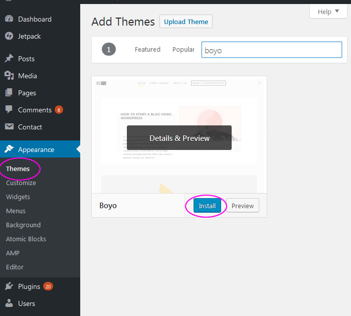 Theme installation in WP