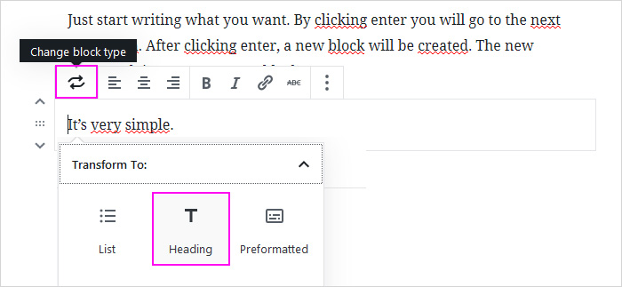 Writing a blog post - adding a heading in the new WordPress block editor