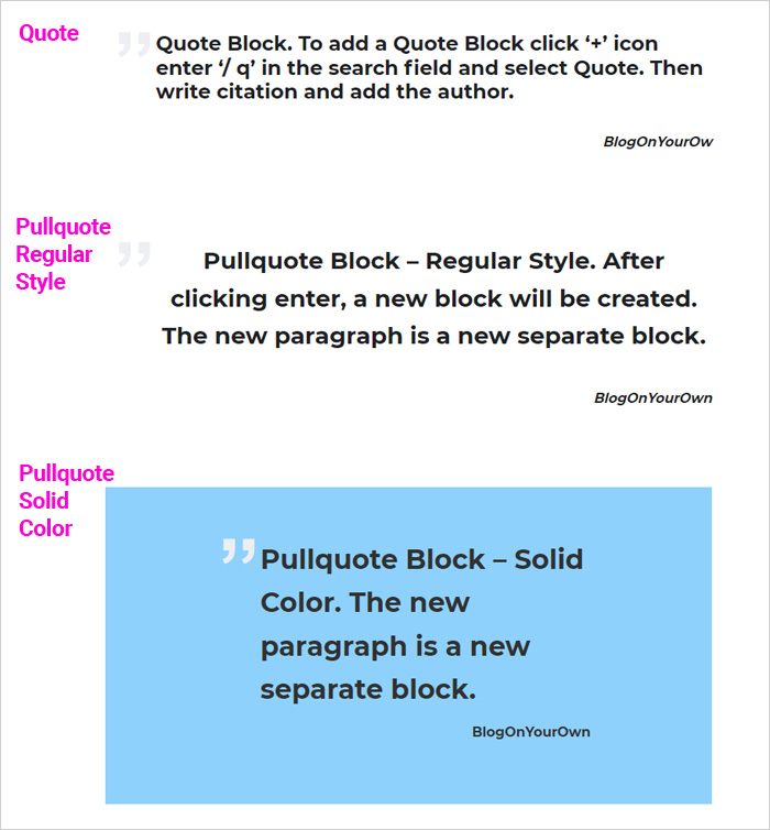 Quote and Pullquote Block in the Wp block editor
