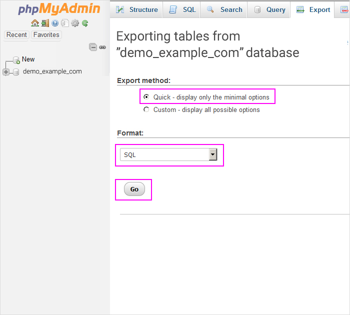Exporting your database