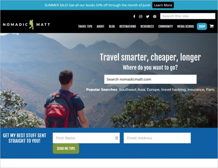 Nomadic Matt best travel blog in travel niche site screen shot