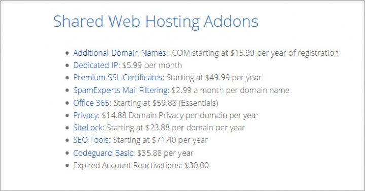 Shared Web Hosting Addons - Bluehost review