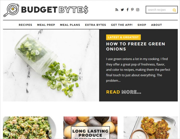 Budget Bytes site screen shot