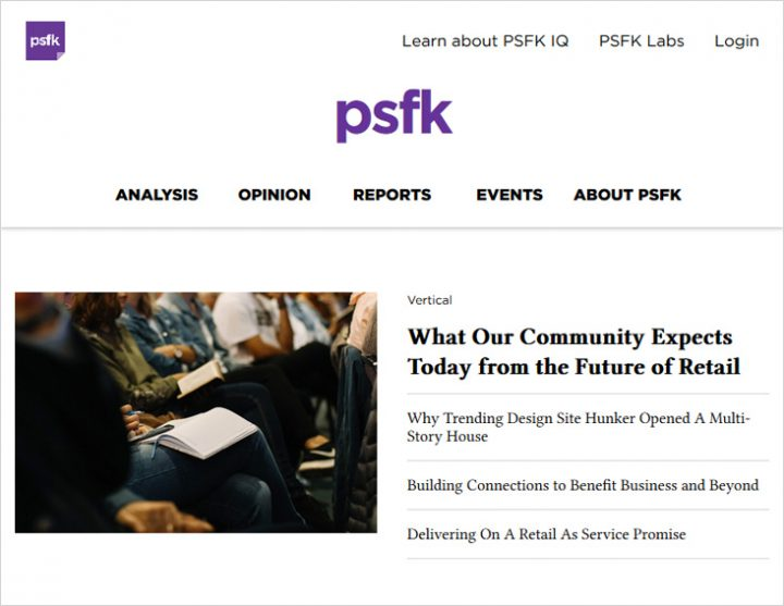 PSFK -  Digital Marketing blog niche site screen shot