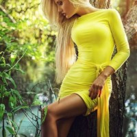 Mellow Yellow Ladies In Bikinis, Stockings And High Heels