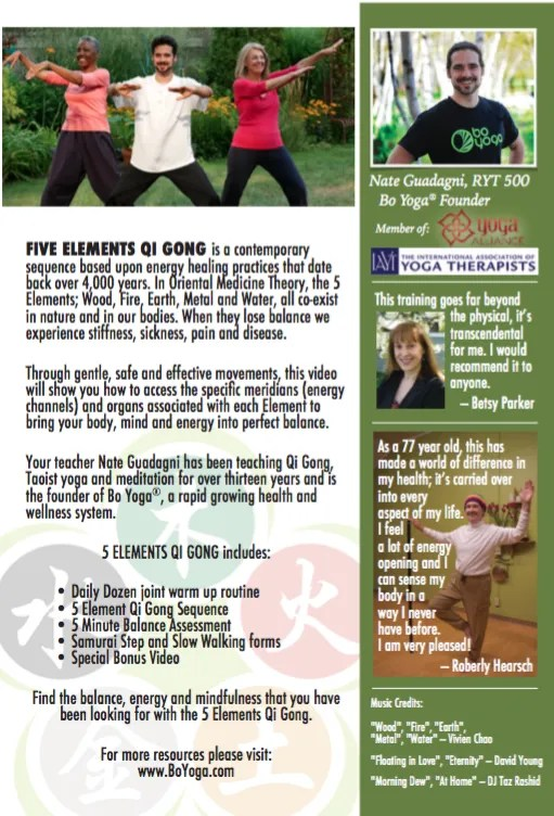 5 Elements Qi Gong DVD Back