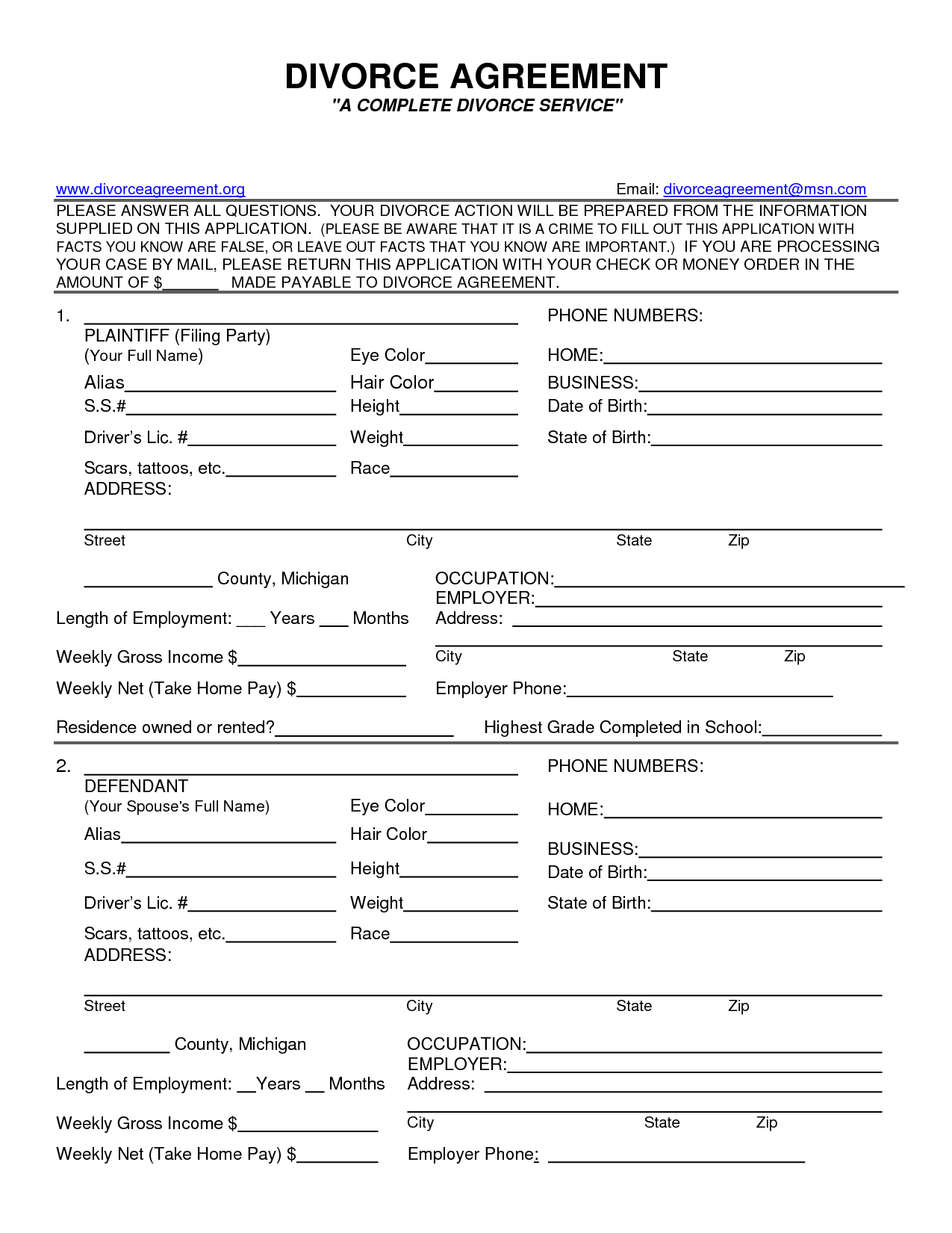 Free Printable Divorce Papers For Illinois
