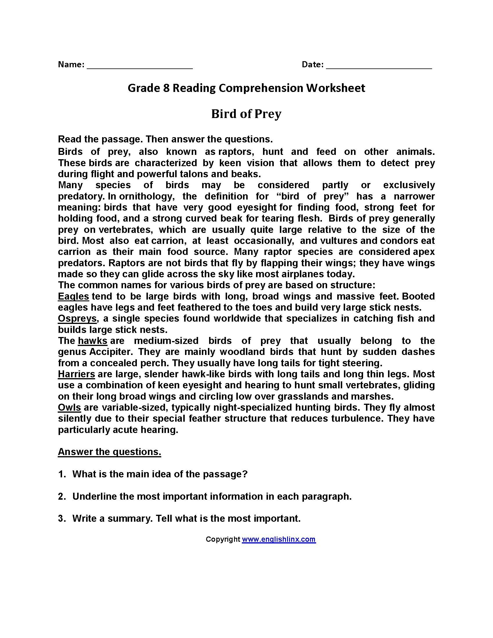 - Reading Comprehension Worksheets College Printable Worksheets