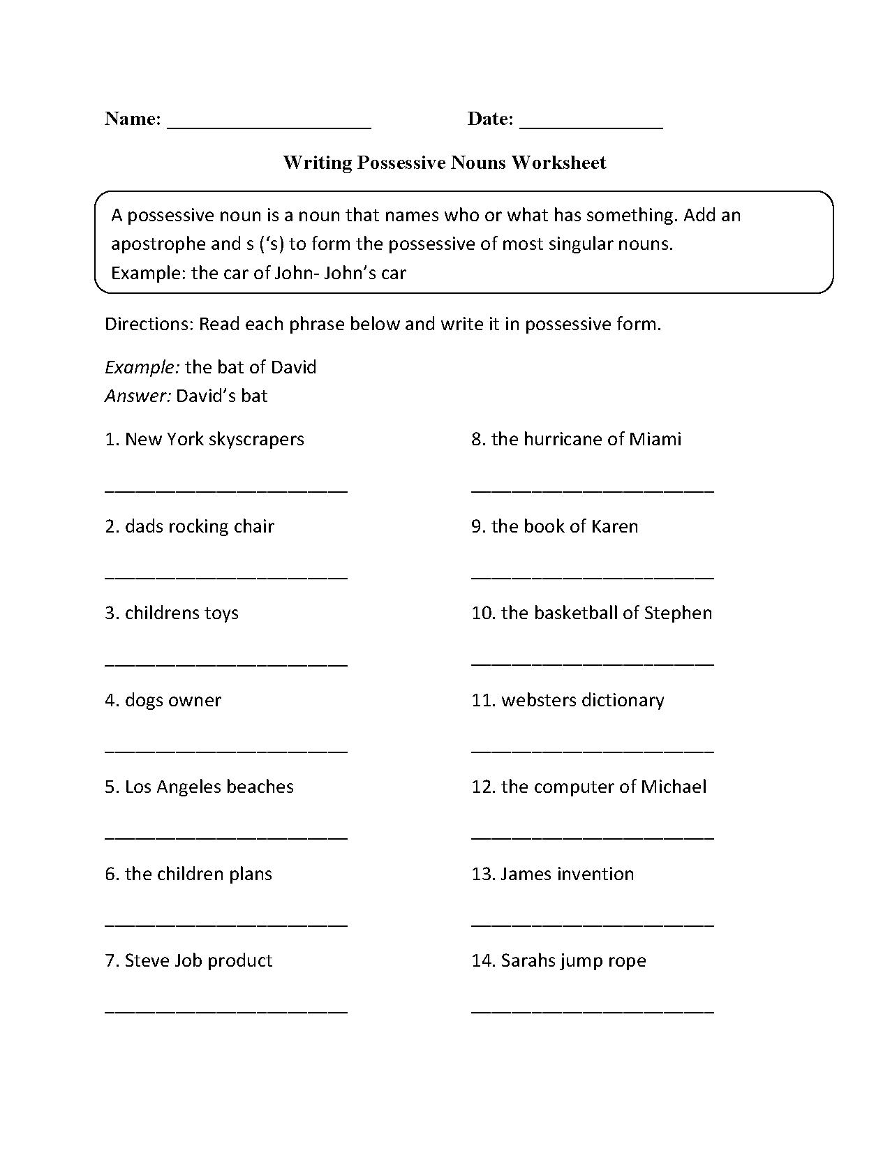 hight resolution of Possessive Nouns Worksheet