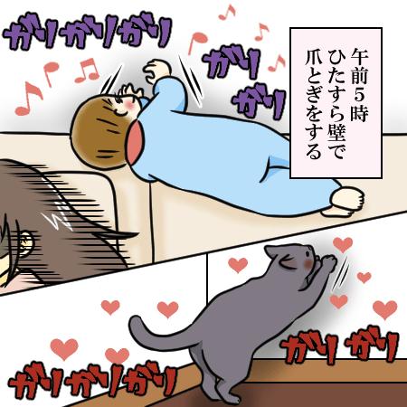 男の子2人兄弟ブログの育児漫画。午前5時、壁で爪とぎをする次男。猫も壁で爪とぎをしている。