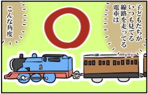 子どもたちがいつも見てる線路を走ってる電車は、こんな角度。〇