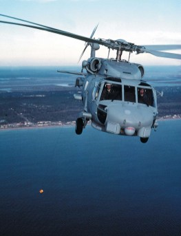 U.S Navy Seahawk air-to-air front view with MAD deployed