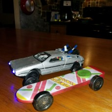 Hoverboard and Delorean from Back to the Future