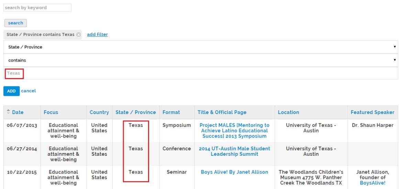 Conferences database filter option