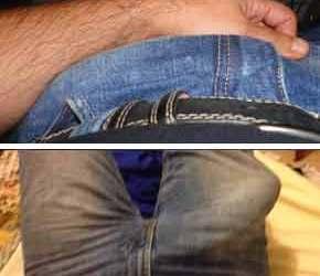 Pau duro no jeans - Machos bem dotados amadores